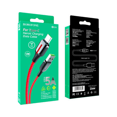 Кабель Borofone BU14 Heroic charging data cable for Type-C - Red