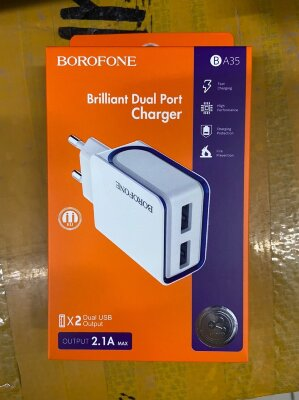 Сетевой адаптер Borofone BA35 Brilliant dual port charger (EU) - White