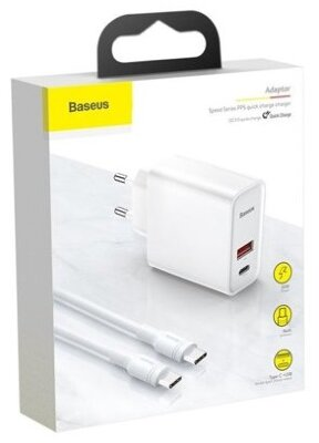 Сетевое зарядное устройство Baseus Speed PPS Quick charger C+U 30W(With 1M C to C Cable)EU (TZCAFS-A02) - White