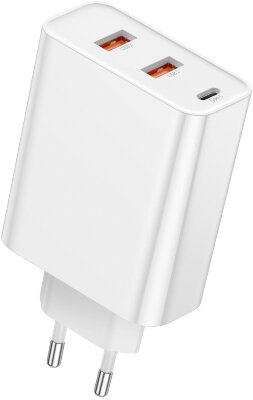 Сетевое зарядное устройство Baseus PPS three output quick charger (C+U+U) 60W EU (CCFS-G02) - White