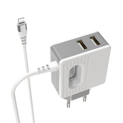 Сетевой адаптер Borofone  BA34 Power essence dual port charger (Lightning) (EU) - White