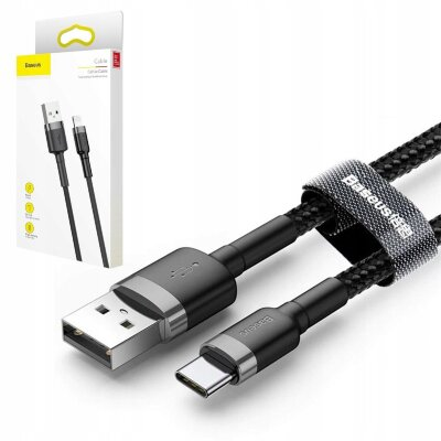 Кабель Baseus cafule Cable USB For Type-C 2A 3m (CATKLF-UG1) - Gray+Black