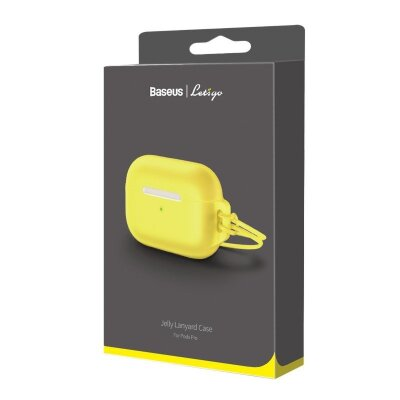 Чехол для AirPods Pro Baseus Let''s go Jelly Lanyard Case for pods pro (WIAPPOD-D0Y) - Yellow (with yellow lanyard)
