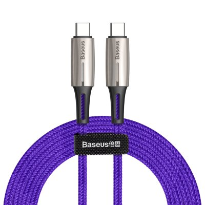 Кабель Baseus Water Drop-shaped Lamp Type-C PD2.0 60W Flash Charge Data Cable 20V 3A 2m (CATSD-K05) - Purple
