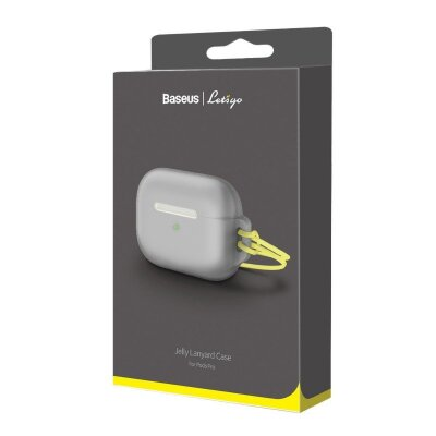 Чехол для AirPods Pro Baseus Let''s go Jelly Lanyard Case for pods pro (WIAPPOD-D0G) - Grey (with yellow lanyard)