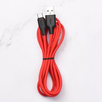 Кабель hoco X21 Plus Silicone charging cable for Type-C (L=2M) - Black/Red