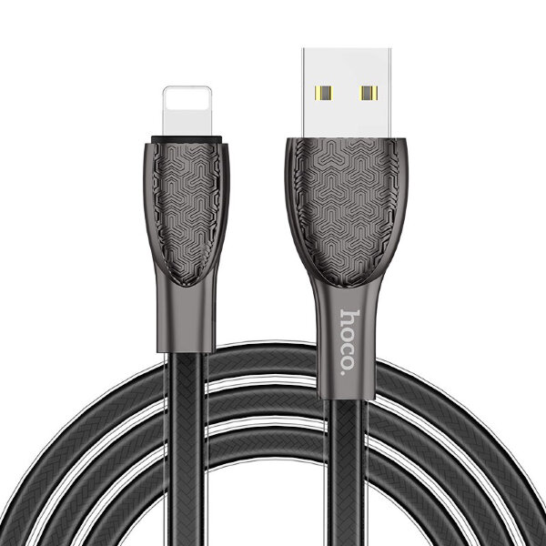 Кабель hoco  U52 Bright charging data cable for Lightning - Черный