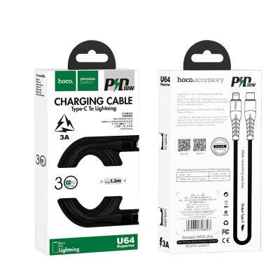 Кабель hoco U64 Superior PD charging cable for Lightning - Black
