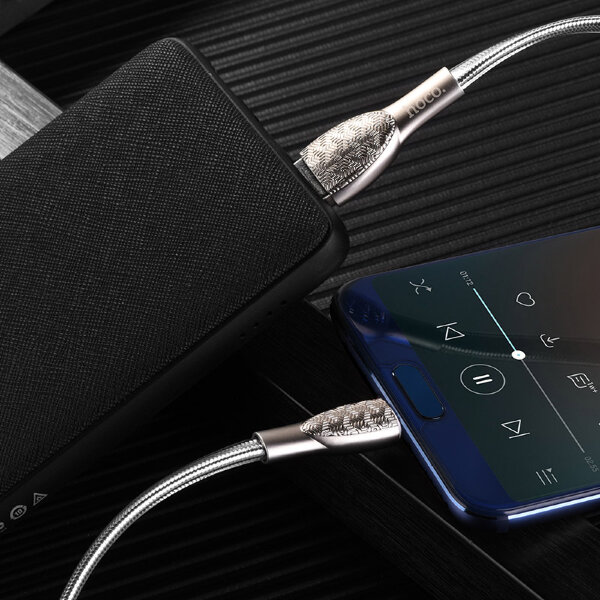 Кабель hoco U52 Bright charging data cable for Type-C - Серебристый