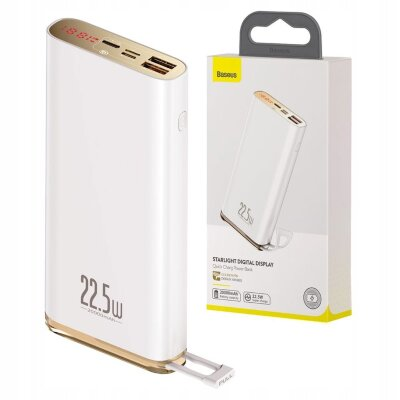 Внешний аккумулятор Baseus Starlight Digital Display Quick Charg Power Bank 20000mAh 22.5W (PPXC-02) - White