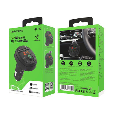 Автомобильное ЗУ FM-трансмиттер BOROFONE BC26 Music joy Car wireless FM transmitter - Black