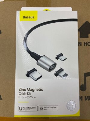 Кабель Baseus Zinc Magnetic Cable Kit iP+Type-C+Micro (TZCAXC-A01) - Black
