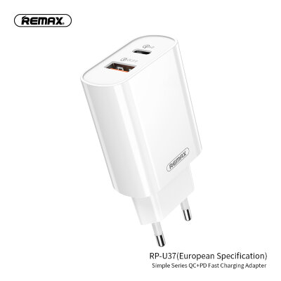 Сетевой адаптер REMAX Simple Series QC 3.0+ PD Fast Charging Adapter RP-U37 - White