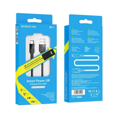 Кабель Borofone BU17 Starlight smart power off charging data cable for  Lightning - Black