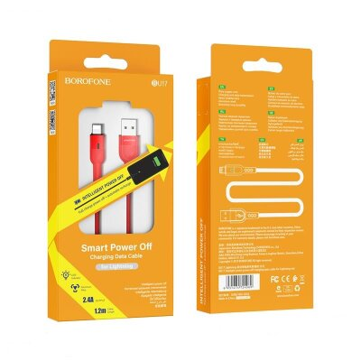 Кабель Borofone BU17 Starlight smart power off charging data cable for Lightning - Red