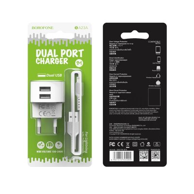 Сетевой адаптер Borofone Wall charger BA23A Brilliant EU set with cable Lightning