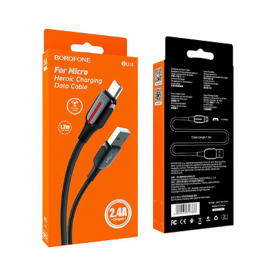 Кабель Borofone BU14 Heroic charging data cable for Micro - Black