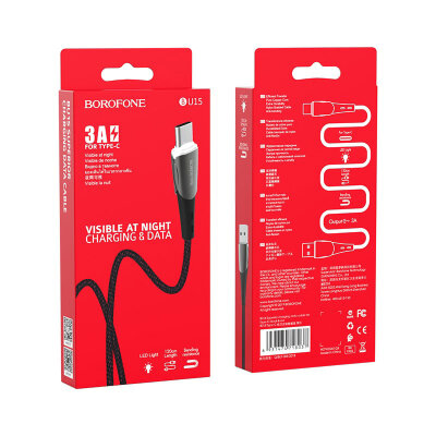 Кабель Borofone BU15 Superior charging data cable for Type-C - Black/Red
