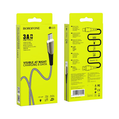 Кабель Borofone BU15 Superior charging data cable for Type-C - Black/Grey