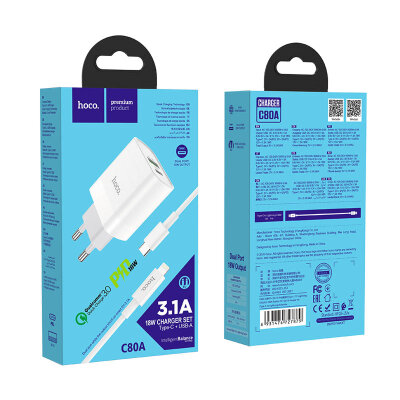 Зарядка hoco C80A Rapido PD+QC3.0 charger set (Type-C to Lightning) (EU) - White