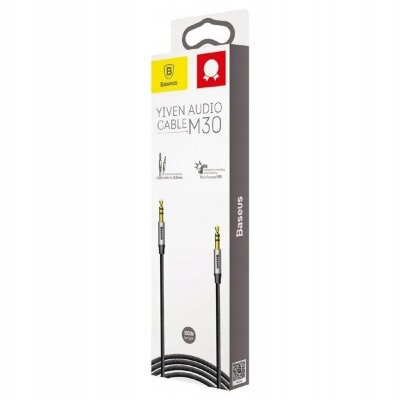 Кабель AUX Baseus Yiven Audio Cable 3.5 male Audio M30 1M (CAM30-BS1) - Silver+Black