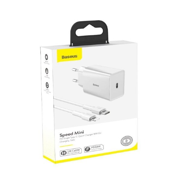 Сетевой адаптер DZ-HW Baseus Speed Mini PD single Type-C Quick Charger 18W White Charging  Sets (EU) (With Baseus Mini White Cable Type-C to iP PD 18W) 1m (TZCCFS-X02) - White