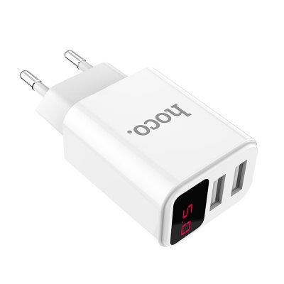 Сетевой адаптер hoco C63A Victoria dual port charger with digital display (EU) - Белый