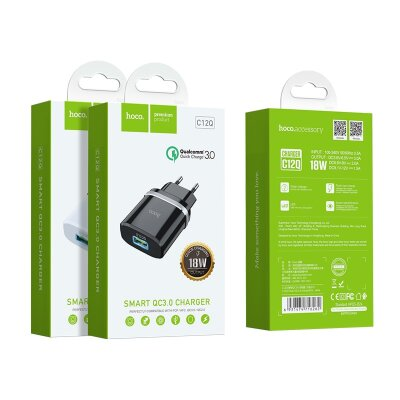Сетевой адаптер hoco C12Q Smart QC3.0 charger (EU) - Black