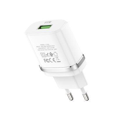 Сетевой адаптер hoco C12Q Smart QC3.0 charger (EU) - White