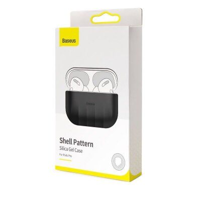 Чехол для AirPods Pro Baseus Shell pattern Silica Gel Case For Pods Pro (WIAPPOD-BK01) - Black