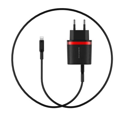 Сетевой адаптер Borofone BA7A FlashPlug 2.4A Wall Charger Set Lightning - Черный