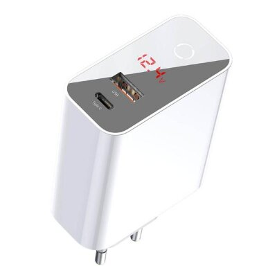 Сетевое зарядное устройство Baseus Speed PPS Intelligent Power-off & Digital Display Quick Charger PD3.0+QC3.0 45W (Type-C+USB) EU (CCFSEU907-02) - White