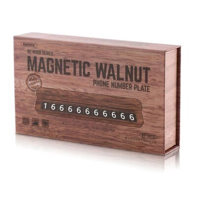 Парковочная карта Remax RE-WOOD SERIES MAGNETIC WALNUT PHONE NUMBER PLATE RT-SP13 - Brown