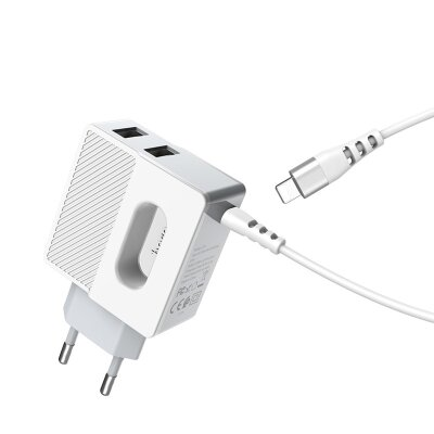 Зарядка hoco C75 Imperious dual port charger (Lightning) (EU) - White