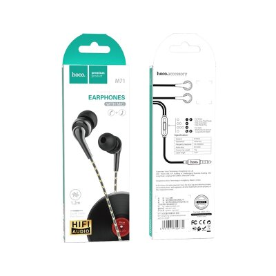 Наушники hoco M71 Inspiring universal earphones with mic - Black