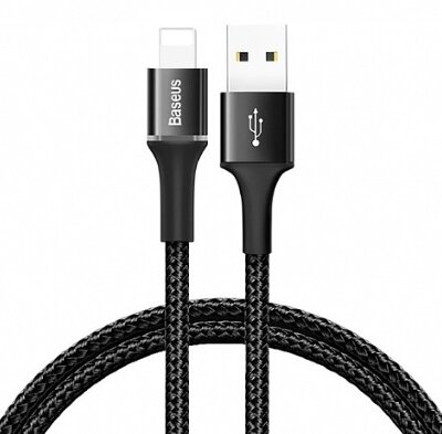 Кабель Baseus halo data cable USB For iP 2.4A 0.5m (CALGH-A01) - Black
