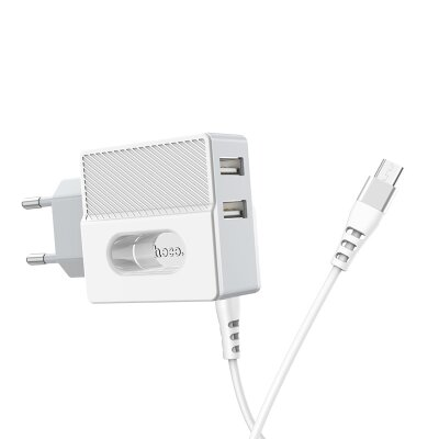 Зарядка hoco C75 Imperious dual port charger (Micro) (EU) - White