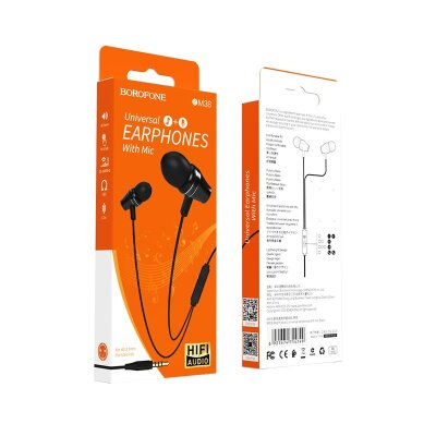 Наушники Borofone BM38 Bright sound Universal earphones with mic - Black