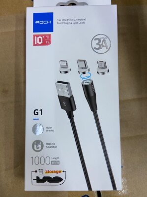 Кабель Rock 3 in 1 Magnetic 3A Braided Fast Charge & Sync Cable - Black