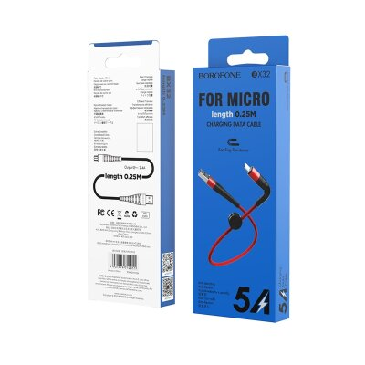 Кабель Borofone BX32 Munificent charging data cable for Micro (L=0.25M) - Red