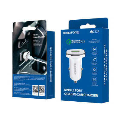 Автомобильное ЗУ Borofone BZ12A Lasting power single port QC3.0 in-car charger - White