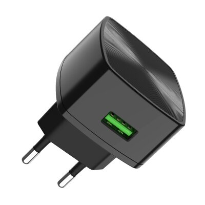 Сетевой адаптер hoco C70A Cutting-edge single port QC3.0 charger (EU) - Black
