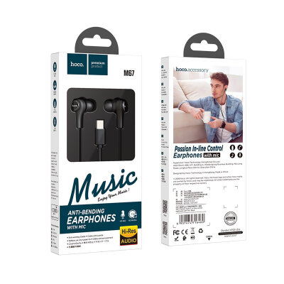 Наушники hoco M67 Passion Type-C in-line control eaphones with mic - Black