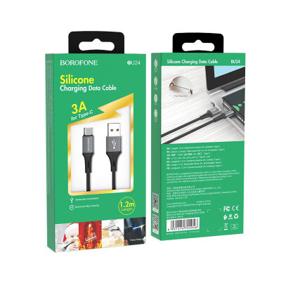 Кабель Borofone BU24 Cool Silicone charging data cable for Type-C - Black