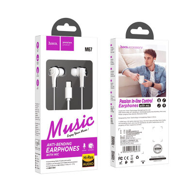 Наушники hoco M67 Passion Type-C in-line control eaphones with mic - White