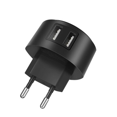 Сетевой адаптер hoco C67A Shell dual port charger (EU) - Black