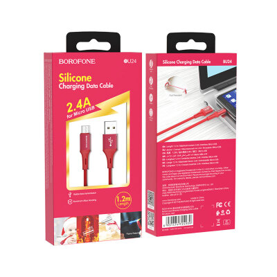 Кабель Borofone BU24 Cool Silicone charging data cable for Micro - Red