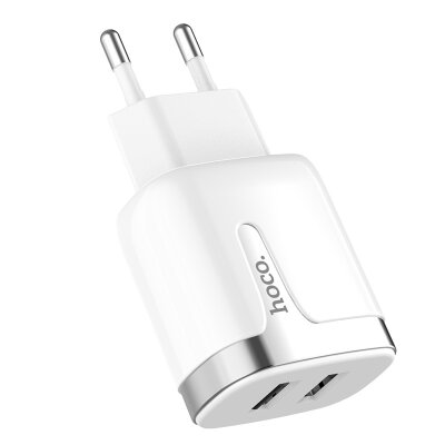 Сетевой адаптер hoco C64A Engraved dual port charging adapter (EU) - White