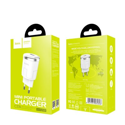Сетевой адаптер hoco C37A Thunder power single port charger (EU) - White