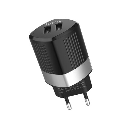 Сетевой адаптер hoco C55A Energy dual port charger (EU) - Black